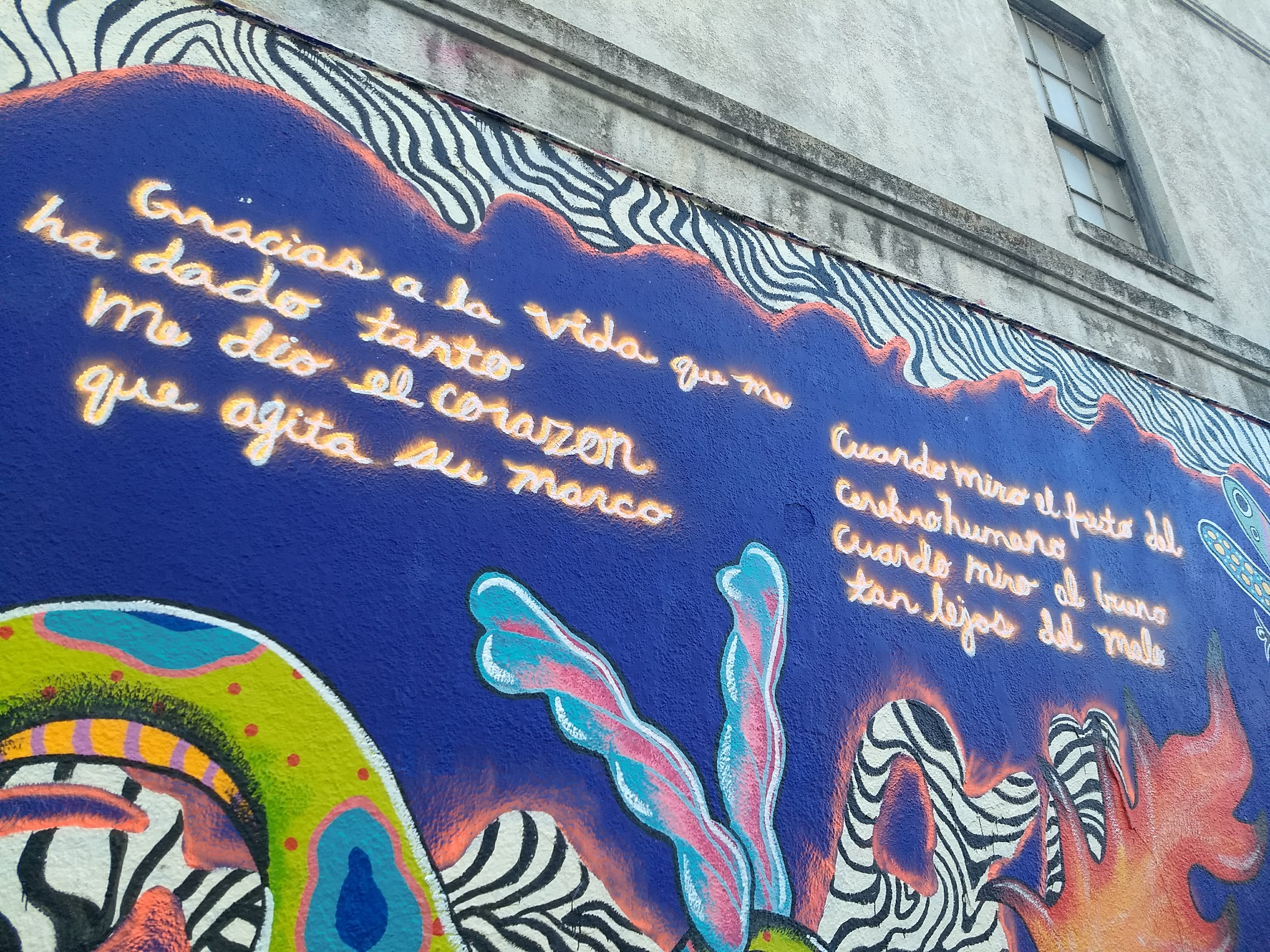 "Mural in Austin Texas. Background paint is deep blue with a zebra skin pattern border and the text of the Violeta Parra song ""Gracias a la Vida"""
